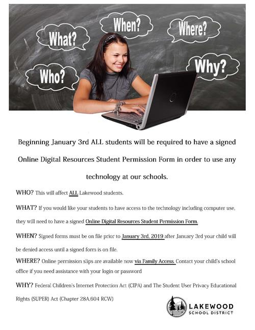 Online Digital Resources Student Permission
